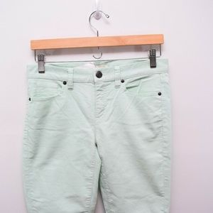J Crew Stretch Vintage Cord Toothpick Pants Mint 2
